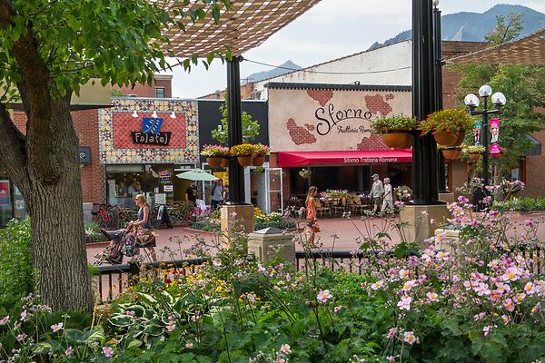 Falafel King Restaurant, Sforno Trattoria Romana Restaurant,  Pearl Street Mall. Pearl Street Mall, pedestrian mall, Boulder, Colorado, Boulder merchant, shopping center,