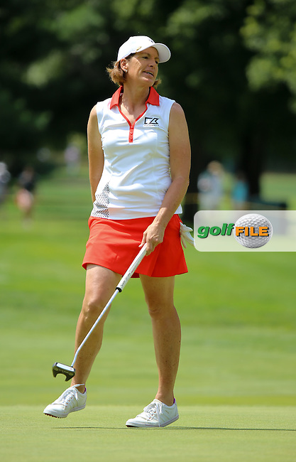 23 JUL 15 Solheim Captain Juli Inkster cringes as her birdie put rims and rolls during Thursday's First Round of The Meijer LPGA Classic at The Blythefield Country Club in Belmont, Michigan. (photo credit : kenneth e. dennis/kendennisphoto.com)