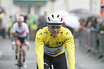 Race leader Yellow Jersey Edvald Boasson Hagen (NOR) Team Dimension Data at sign on for a wet Stage 2 of the Criterium du Dauphine 2019, running 180km from Mauriac to Craponne-sur-Arzon, France. 9th June 2019<br /> Picture: Colin Flockton | Cyclefile<br /> All photos usage must carry mandatory copyright credit (© Cyclefile | Colin Flockton)