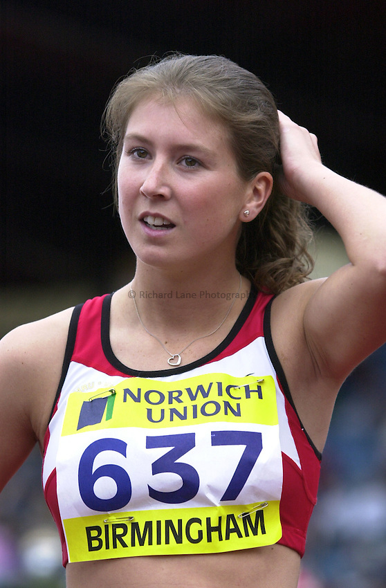 Photo: Richard Lane..Norwich Union World Trials & AAA Championships. 27/07/2003..Rachel King, winner of the womens 100m hurdles.