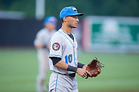 Hudson Valley Renegades third baseman Bill Pujols (10) on defense against the Aberdeen IronBirds at Leidos Field at Ripken Stadium on July 27, 2017 in Aberdeen, Maryland.  The IronBirds defeated the Renegades 3-0 in game two of a double-header.  (Brian Westerholt/Four Seam Images)