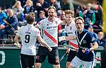 AMSTELVEEN  -  Mirco Pruyser (Adam) heeft gescoord. Hoofdklasse hockey dames ,competitie, heren, Amsterdam-Pinoke (3-2)  . rechts Jan-Willem Buissant (Adam), links Rik van Kan (Adam)  COPYRIGHT KOEN SUYK