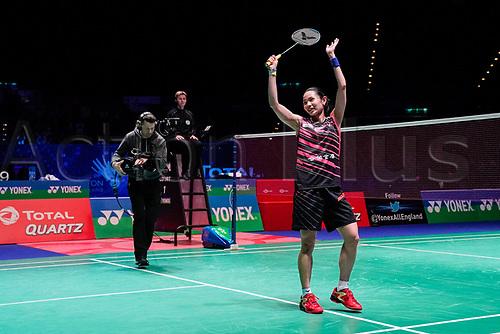 18th March 2018, Arena Birmingham, Birmingham, England; Yonex All England Open Badminton Championships; Tai Tzu Ying (TPE) celebrates winning the womens singles the final against Akane Yamaguchi (JPN)