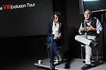 (L-r) Photographers Ashley Gilbertson and Ron Haviv of the VII Photo Agency sit on a panel on the VII Evolution Tour at Abel Cine in the Douglass Park neighborhood of Chicago, Illinois on October 17, 2015.