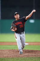 Aberdeen Ironbirds relief pitcher Jeong-Hyeon Yoon (56) delivers a pitch during a game against the Batavia Muckdogs on July 16, 2016 at Dwyer Stadium in Batavia, New York.  Aberdeen defeated Batavia 9-0. (Mike Janes/Four Seam Images)