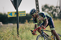 "Guillaume Van Keirsbulck (BEL/Wanty-Groupe Gobert) leading solo<br /> <br /> Antwerp Port Epic 2018 (formerly ""Schaal Sels"")<br /> One Day Race:  Antwerp > Antwerp (207 km; of which 32km are cobbles & 30km is gravel/off-road!)"