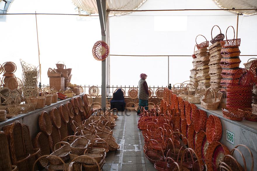 Uzbekistan - Tashkent - Wicker baskets being sold at the Chorsu Bazaar.