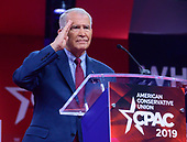 Lieutenant Colonel Oliver North, United States Marine Corps (retired), President, National Rifle Association (NRA) salutes as he concludes his remarks at the Conservative Political Action Conference (CPAC) at the Gaylord National Resort and Convention Center in National Harbor, Maryland on Thursday, February 28, 2019.<br /> Credit: Ron Sachs / CNP