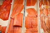 CANADA, Vancouver, British Columbia, salmon for sale at the Granville Island Public Market, located on Granville Island