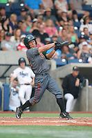 Jensen Park (12) of the Boise Hawks bats during a game against the Hillsboro Hops at Ron Tonkin Field on August 22, 2015 in Hillsboro, Oregon. Boise defeated Hillsboro, 6-4. (Larry Goren/Four Seam Images)