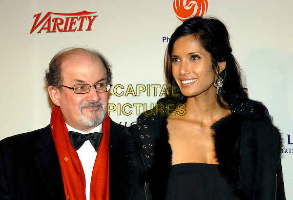 SALMAN RUSHDIE & PADMA LAKSHMI.34th International Emmy Awards Gala at the New York Hilton, New York, NY, USA..November 20th, 2006.headshot portrait earrings goatee glasses husband wife married.CAP/ADM/PH.©Paul Hawthorne/AdMedia/Capital Pictures *** Local Caption ***