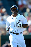 Detroit Tigers outfielder Torii Hunter #48 during a Spring Training game against the Atlanta Braves at Joker Marchant Stadium on February 27, 2013 in Lakeland, Florida.  Atlanta defeated Detroit 5-3.  (Mike Janes/Four Seam Images)
