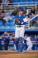 Dunedin Blue Jays catcher Riley Adams (23) looks into the dugout during a game against the Fort Myers Miracle on April 17, 2018 at Dunedin Stadium in Dunedin, Florida.  Dunedin defeated Fort Myers 5-2.  (Mike Janes/Four Seam Images)