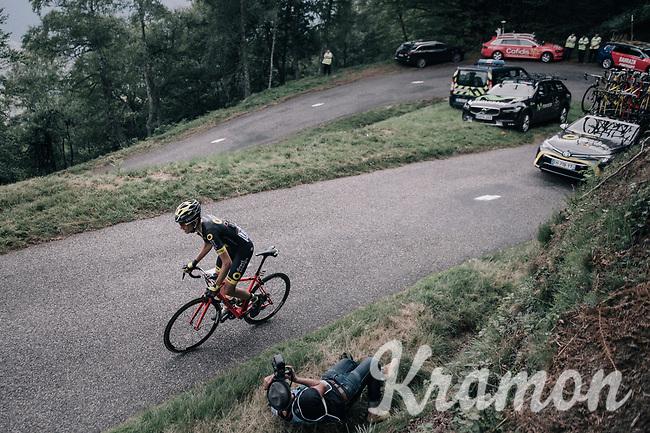 Romain Sicard (FRA/Direct Energie) up the Mur de P&eacute;gu&egrave;re (Cat1/1375m/9.3km/7.9%)<br /> <br /> 104th Tour de France 2017<br /> Stage 13 - Saint-Girons &rsaquo; Foix (100km)