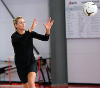 18.10.2015 Silver Ferns Leana de Bruin trains for their upcoming netball test match against Australia in Christchurch. Mandatory Photo Credit ©Michael Bradley.