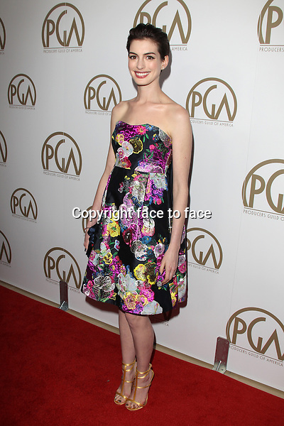 BEVERLY HILLS, CA - JANUARY 26: Anne Hathaway (wearing Erdem pre-fall 2013 multi-color floral print sweat heart shape dress) at the 24th Annual Producers Guild of America Awards at The Beverly Hilton Hotel in Beverly Hills, California...Credit: MediaPunch/face to face..- Germany, Austria, Switzerland, Eastern Europe, Australia, UK, USA, Taiwan, Singapore, China, Malaysia and Thailand rights only -