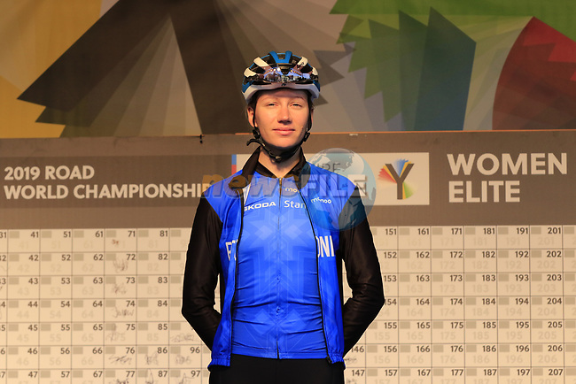 Mae Lang of Estonia at sign on for the start of the Women Elite Road Race of the UCI World Championships 2019 running 149.4km from Bradford to Harrogate, England. 28th September 2019.<br /> Picture: Eoin Clarke | Cyclefile<br /> <br /> All photos usage must carry mandatory copyright credit (© Cyclefile | Eoin Clarke)