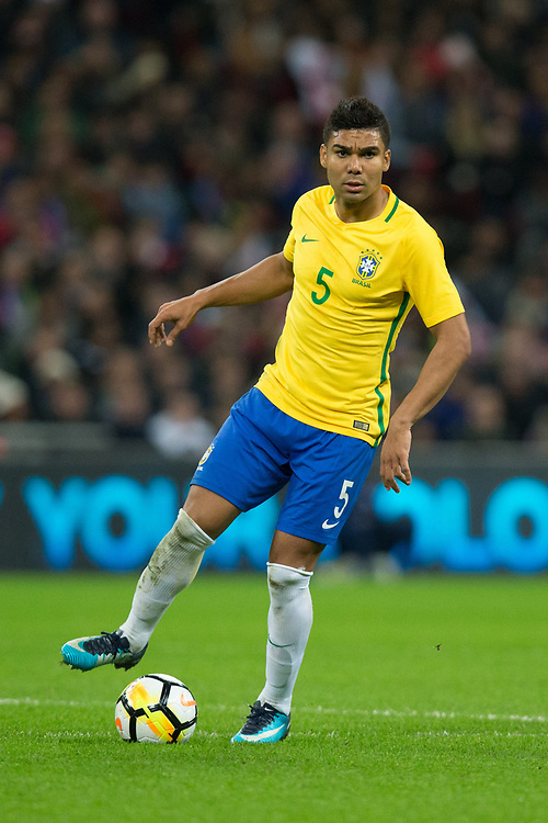 Brazil&rsquo;s Casemiro <br /> <br /> Photographer Craig Mercer/CameraSport<br /> <br /> The Bobby Moore Fund International - England v Brazil - Tuesday 14th November 2017 Wembley Stadium - London  <br /> <br /> World Copyright &copy; 2017 CameraSport. All rights reserved. 43 Linden Ave. Countesthorpe. Leicester. England. LE8 5PG - Tel: +44 (0) 116 277 4147 - admin@camerasport.com - www.camerasport.com