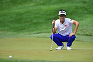 Bethesda, MD - July 2, 2017: Kevin Na sizes up a his shot on hole seventeen during final round of professional play at the Quicken Loans National Tournament at TPC Potomac at Avenel Farm in Bethesda, MD.  (Photo by Phillip Peters/Media Images International)