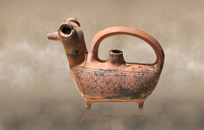Phrygian decorated  terra cotta pottery  rhyton in the shape of a ram from Gordion. Phrygian Collection, 8th century BC - Museum of Anatolian Civilisations Ankara. Turkey. Against an art background