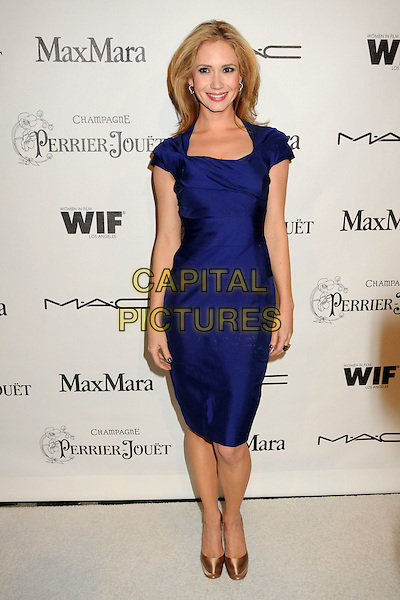ASHLEY JONES .3rd Annual Women In Film Pre-Oscar Party held at a Private Residence in Beverly Hills, California, USA, .4th March 2010..full length blue dress  peach silk satin pink shoes platform .CAP/ADM/BP.©Byron Purvis/AdMedia/Capital Pictures.
