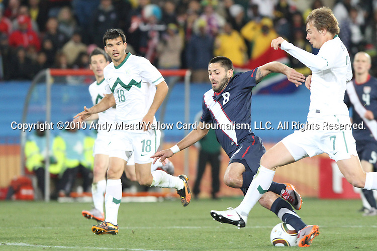 18 JUN 2010: Clint Dempsey (USA) (8), Nejc Pecnik (SVN) (7) and Aleksandar Radosavljevic (SVN) (18). The Slovenia National Team tied the United States National Team 2-2 at Ellis Park Stadium in Johannesburg, South Africa in a 2010 FIFA World Cup Group C match.