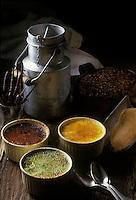 Europe/France/Rhône-Alpes/74/Haute-Savoie/Annecy: Trois  Crèmes brulées au lait de brebis- Café,Vanille,Pistache- Recette de Marc Veyrat