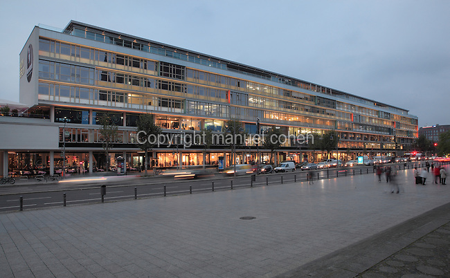 Bikini-Haus, built 1955-56 by Paul Schwebes and Hans Schoszberger, remodelled in 2010 to become a shopping mall and hotel, Budapest Sreet, Charlottenburg, Berlin, Germany. The name Bikini House comes from the 2-part building model. Picture by Manuel Cohen