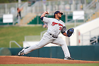 Brevard County Manatees starting pitcher Angel Ventura (38) delivers a pitch during a game against the Fort Myers Miracle on April 13, 2016 at Hammond Stadium in Fort Myers, Florida.  Fort Myers defeated Brevard County 3-0.  (Mike Janes/Four Seam Images)