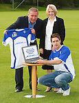 Ally McCoist promoting www.thebluenose.co.uk for the Rangers Supporters Assembly with members Jackie Robertson and Ross Blythe