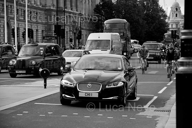 Ambassador car going to the Houses of Parliament.<br />