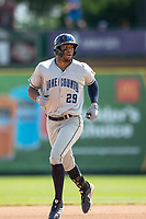 Lake County Captains outfielder Will Benson (29) jogs around the bases after hitting a home run against the South Bend Cubs on May 30, 2019 at Four Winds Field in South Bend, Indiana. The Captains defeated the Cubs 5-1.  (Andrew Woolley/Four Seam Images)