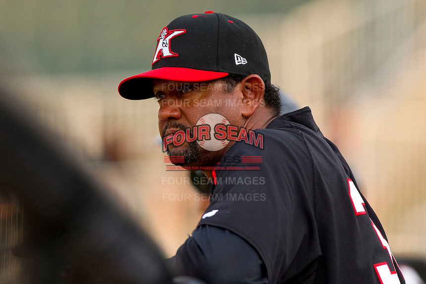Kannapolis Intimidators pitching coach Jose Batista #38 during the South Atlantic League game against the Delmarva Shorebirds at Fieldcrest Cannon Stadium on May 23, 2011 in Kannapolis, North Carolina.   Photo by Brian Westerholt / Four Seam Images