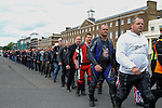LONDON, ENGLAND, 22 May ,2014.  Bikers march from Woolwich Barracks to the Lee Rigby Memorial to mark the first anniversary of the murder of Fusilier Lee Rigby  near his Woolwich barracks.