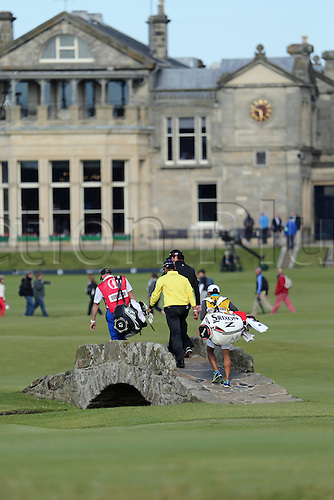 19.07.2015. Old Course, St Andrews, Fife, Scotland. Hideki Matsuyama of Japan crosses the Swilcan Bridge during the third round of the 144th British Open Championship at the Old Course, St Andrews in Fife, Scotland.
