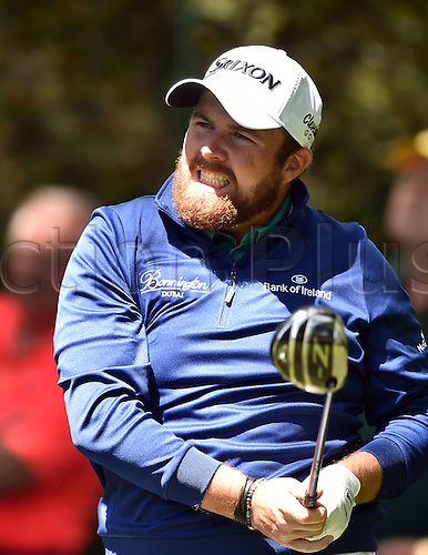 09.04.2016. Augusta, GA, USA.  Shane Lowry reacts to his shot from the 2nd tee during the third round of the 80th Masters at the Augusta National Golf Club in Augusta, Ga., on Saturday, April 9, 2016
