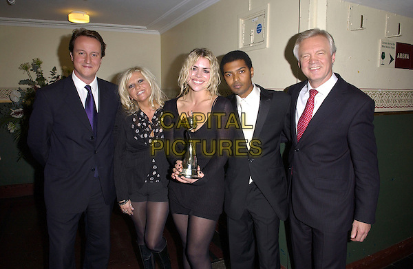 DAVID CAMERON, BILLIE PIPER & DAVID DAVIS.National Television Awards 2005 Pressroom at the Royal Albert Hall, SW7, London, UK..October 25th, 2005.Ref: FIN.half length black suit dress award trophy.www.capitalpictures.com.sales@capitalpictures.com.© Capital Pictures.