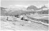 Lizard Head Pass with snowshed, section house, and snow fences.  Work train is on siding.<br /> RGS  Lizard Head, CO  Taken by Richardson, Robert W. - 10/11/1952