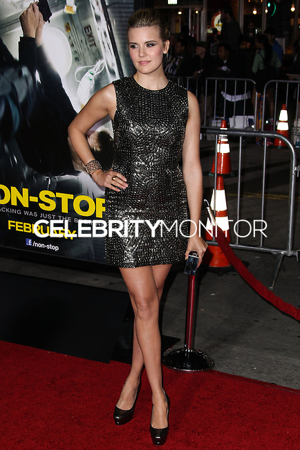 """WESTWOOD, CA, USA - FEBRUARY 24: Maggie Grace at the World Premiere Of Universal Pictures And Studiocanal's """"Non-Stop"""" held at Regency Village Theatre on February 24, 2014 in Westwood, Los Angeles, California, United States. (Photo by Xavier Collin/Celebrity Monitor)"""