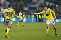 Blackburn Rovers' Elliott Bennett is congratulated by Corry Evans after scoring his side's second goal<br /> <br /> Photographer David Shipman/CameraSport<br /> <br /> The EFL Sky Bet Championship - Sheffield Wednesday v Blackburn Rovers - Saturday 16th March 2019 - Hillsborough - Sheffield<br /> <br /> World Copyright &copy; 2019 CameraSport. All rights reserved. 43 Linden Ave. Countesthorpe. Leicester. England. LE8 5PG - Tel: +44 (0) 116 277 4147 - admin@camerasport.com - www.camerasport.com