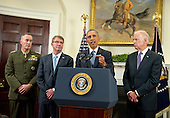 United States President Barack Obama announces he will keep 5,500 US troops in Afghanistan when he leaves office in 2017 and explains his reasoning for that action in the Roosevelt Room of the White House in Washington, DC on Thursday, October 15, 2015. From left to right: US Marine Corps General Joseph F. Dunford, Chairman, Joint Chiefs of Staff; US Secretary of Defense Ashton Carter; the President, and US Vice President Joe Biden.<br /> Credit: Ron Sachs / Pool via CNP