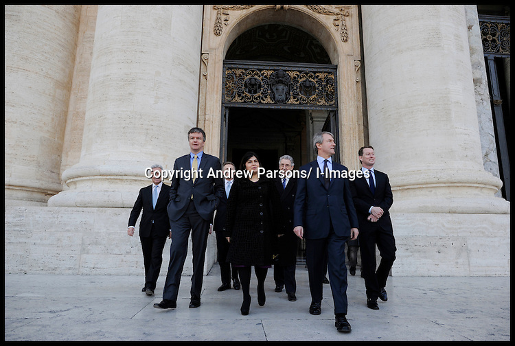 Sayeeda Warsi  members of the Cabinet, Northern Ireland Secretary Owen Patterson (FRONT RIGHT),and Secretary of State for Scotland Michael Moore (FRONT LEFT) outside the Vatican, on her way to deliver her speech to Pontifical ecclesiastical academy, Sayeeda Warsi has brought the as she brings the largest delegation to the Vatican, Tuesday February 14, 2012. Photo by Andrew Parsons/ I-images.BYLINE MUST READ ANDREW PARSONS/i-Images