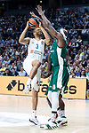 Real Madrid Anthony Randolph and Panathinaikos Chris Singleton during Turkish Airlines Euroleague Quarter Finals 4th match between Real Madrid and Panathinaikos at Wizink Center in Madrid, Spain. April 27, 2018. (ALTERPHOTOS/Borja B.Hojas)