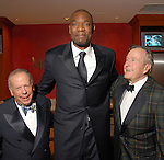Les Alexander, Dikembe Mutombo and Presidnet George Bush at the Houston Rockets Tux & Tennies benefit at Toyota Center Thursday March  27,2008. (Dave Rossman/For the Chronicle)