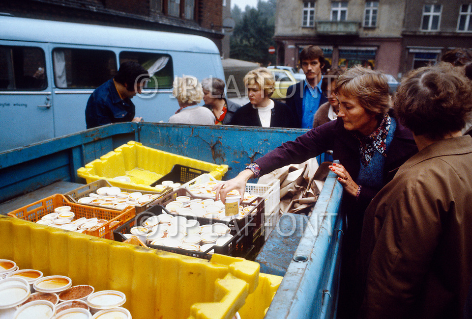 Poland, September, 1981 - Food for sale in the Gdansk market.
