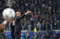 Calcio, andata degli ottavi di finale di Champions League: Juventus vs Bayern Monaco. Torino, Juventus Stadium, 23 febbraio 2016. <br /> Bayern&rsquo;s coach Josep Guardiola gives indications to his players during the Champions League round of 16 first leg soccer match between Juventus and Bayern at Turin's Juventus Stadium, 23 February 2016.<br /> UPDATE IMAGES PRESS/Isabella Bonotto