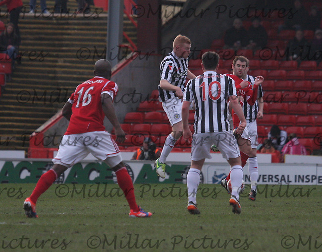 Conor Newton (centre) and Niall McGinn challenge for the ball in the Aberdeen v St Mirren Clydesdale Bank Scottish Premier League match played at Pittodrie Stadium, Aberdeen on 9.2.13.