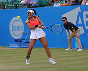June 16th 2017, Nottingham, England; WTA Aegon Nottingham Open Tennis Tournament day 5;  Backhand from Kristie Ahn of USA who lost in the quarter final to Magdalena Rybarikova of The Slovak Republic