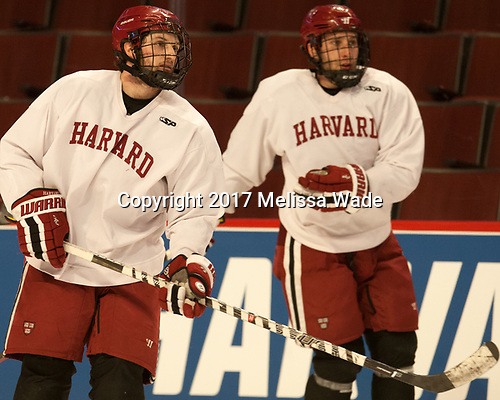 Alexander Kerfoot (Harvard - 14) - The Harvard University Crimson practiced at the United Center on Wednesday, April 5, 2017, in Chicago, Illinois.