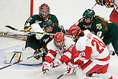 Roxanne Douville (Vermont - 34), ?, Holly Lorms (BU - 8), Erin Wente (Vermont - 18) - The Boston University Terriers tied the visiting University of Vermont Catamounts 2-2 on Saturday, November 13, 2010, at Walter Brown Arena in Boston, Massachusetts.